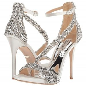 Badgley Mischka Venice White Embellished Heels